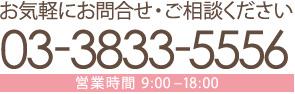 問い合わせ電話番号:03-3833-5556(営業時間:9時~18時)